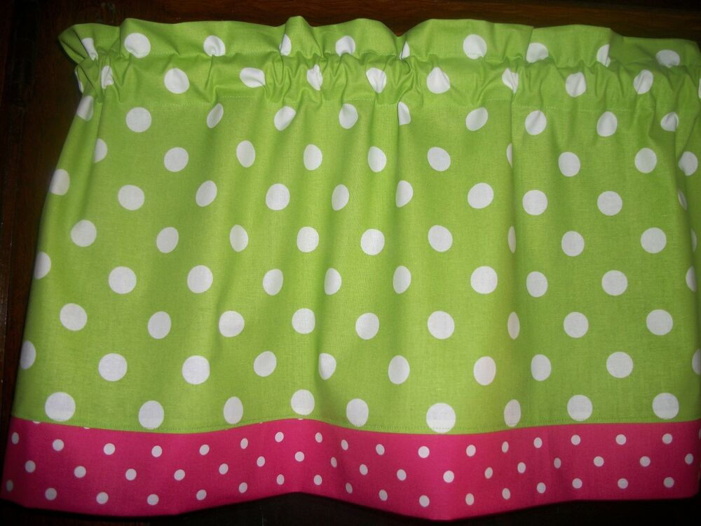 Lime Green Polka Dot Pink White Window Topper Curtain 13 By 42 Valance Ebay
