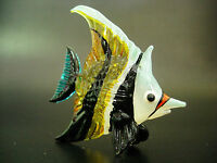 Colourful Glass Tropical Stripy TIGER FISH, Painted Glass Ornament, Nice Gift