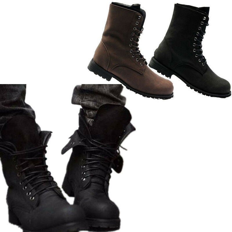 new fashion men winter combat leather lace up mens