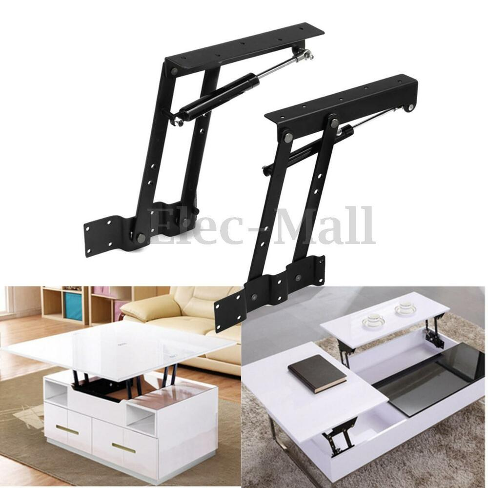 1pair Lift Up Top Coffee Table Lifting Frame Mechanism Spring Hinge