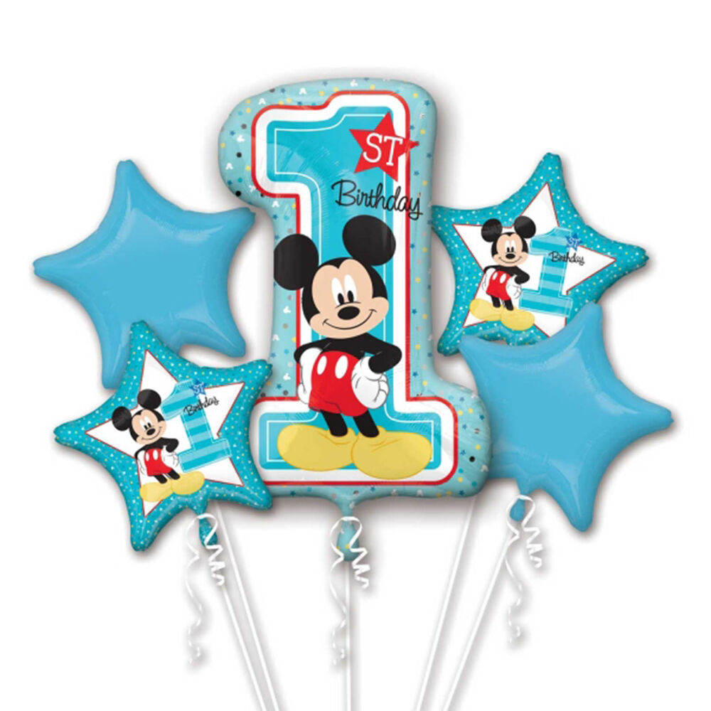 5 Piece Disney's Blue Baby Mickey Mouse 1st Birthday Party ...
