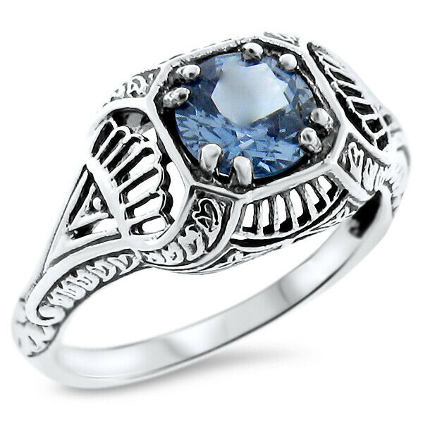 sim aquamarine antique style 925 sterling silver art deco ring 913 ebay. Black Bedroom Furniture Sets. Home Design Ideas