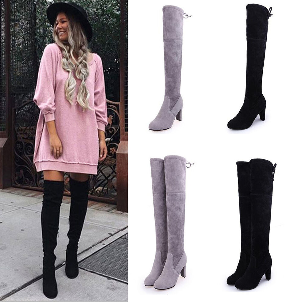 Womens Ladies Suede Over The Knee Boots Shoes Block High
