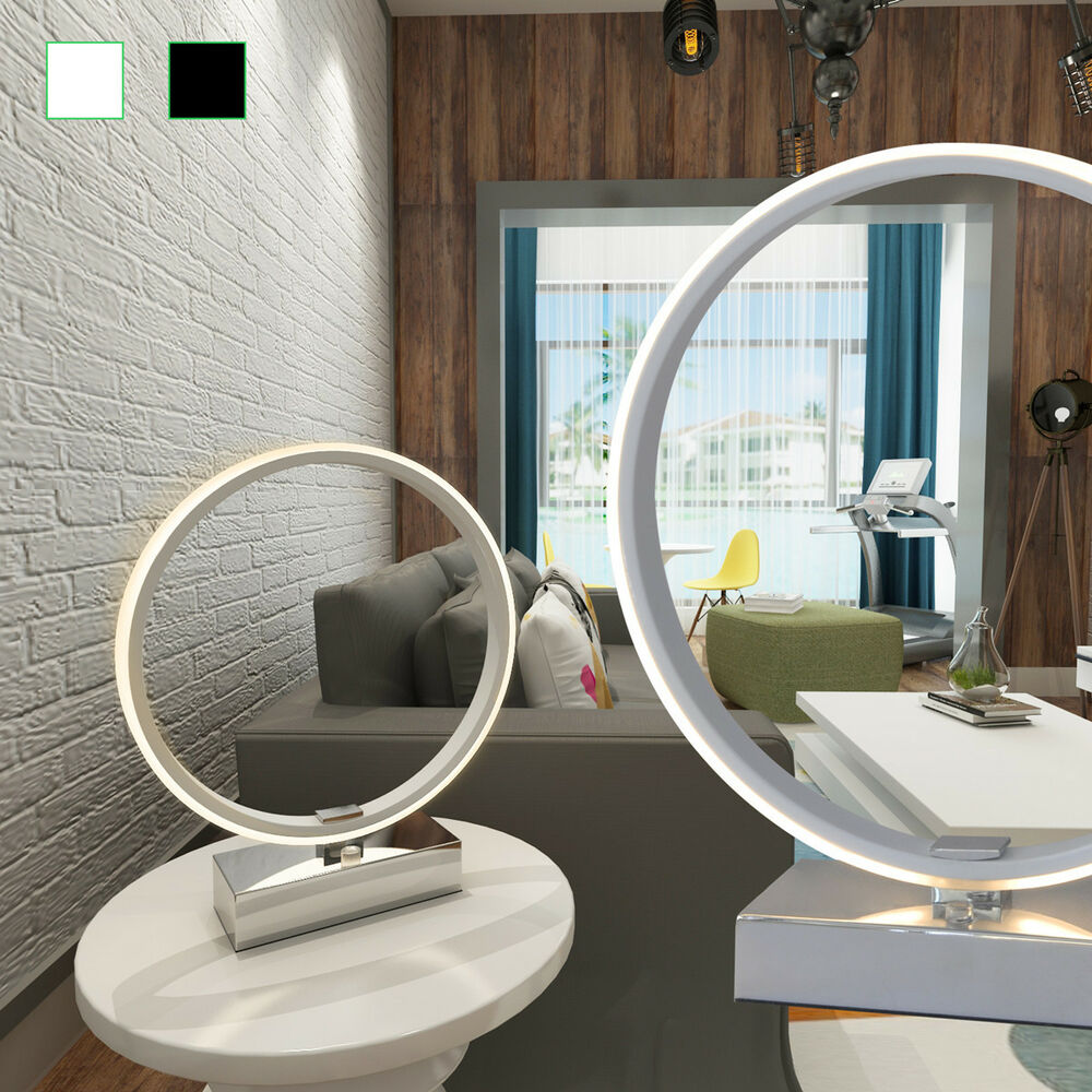 design led ring tischleuchte nachttisch lampe schlafzimmer touch dimmer dimmbar ebay. Black Bedroom Furniture Sets. Home Design Ideas