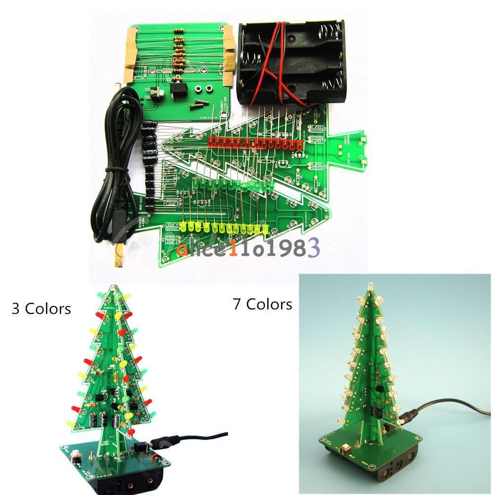 DIY 3D Christmas Kit Flashing Light LED Circuit 3/7 Colors