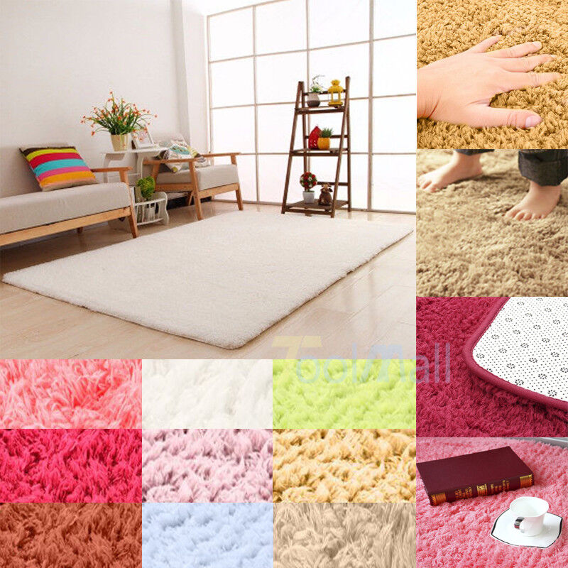 Fluffy Rugs Anti-Skid Shaggy Area Rug Dining Room Home