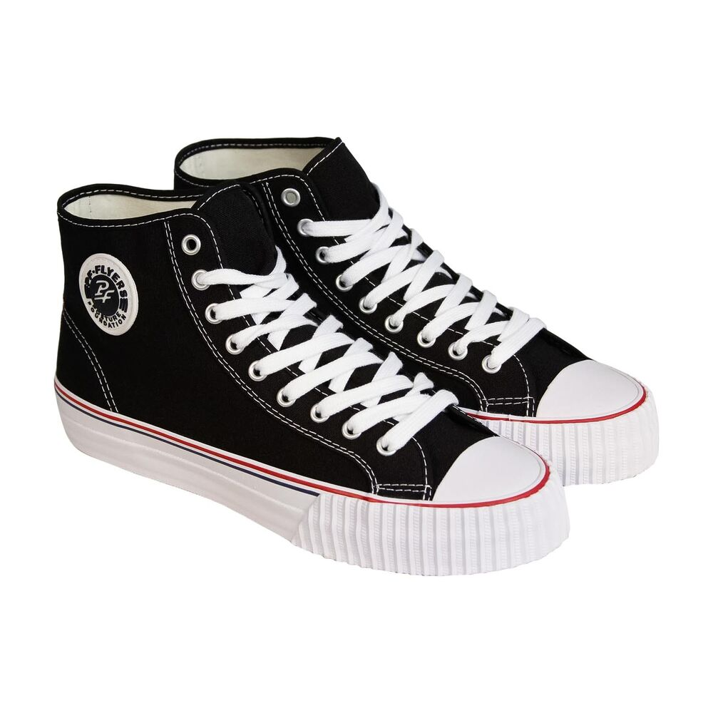 Keep your KID energetic in skate parks wearing these high-top canvas sneakers! A timelessly on-trend style featuring durable rubber sole and cushioned lining for a secure and comfy all day wear. Foldable graphic shaft for certain style/5(58).