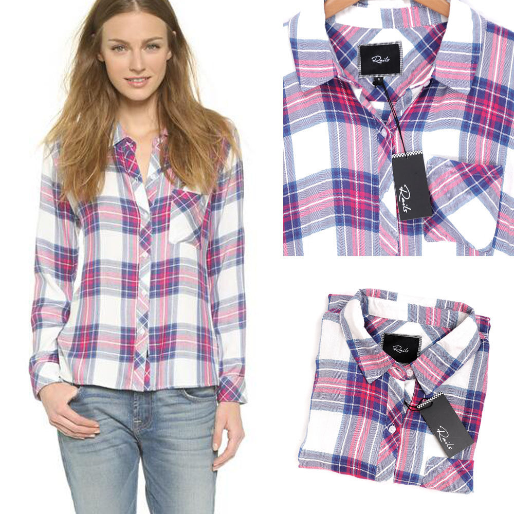 Rails hunter plaid button down shirt white fuschia rayon for Plaid button down shirts for women