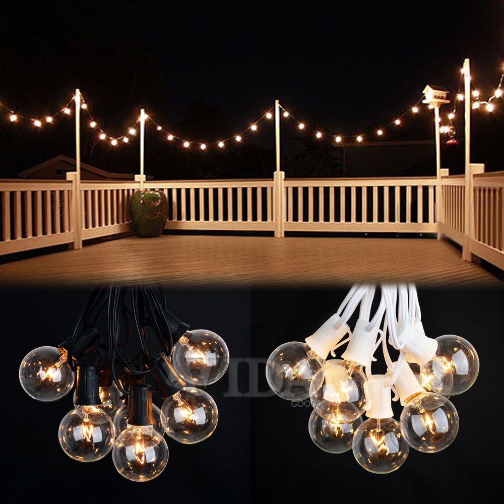 Clear Globe String Lights 100 Ft : 100 Foot Outdoor Globe Patio String Lights - Set of 90 G40 Clear Bulbs eBay