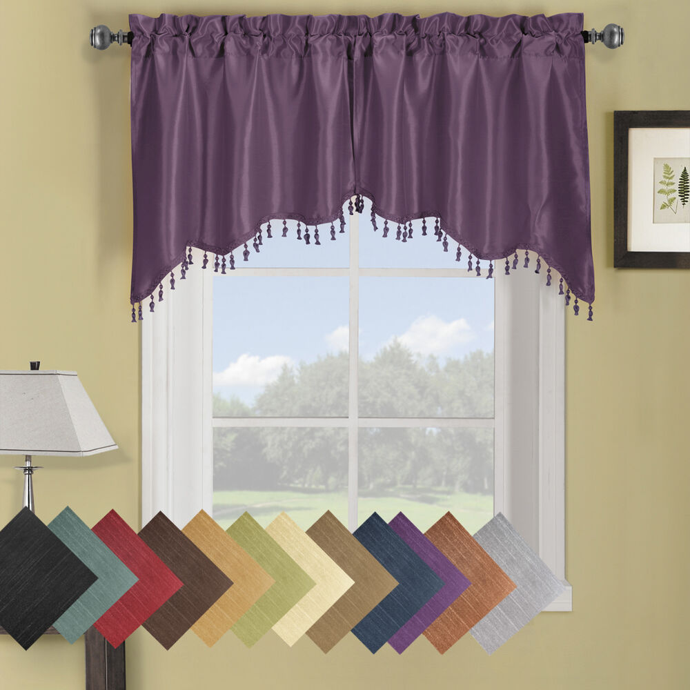 Set Of 2 Soho Swag Valance Solid Pattern 2 Piece 30 X 35