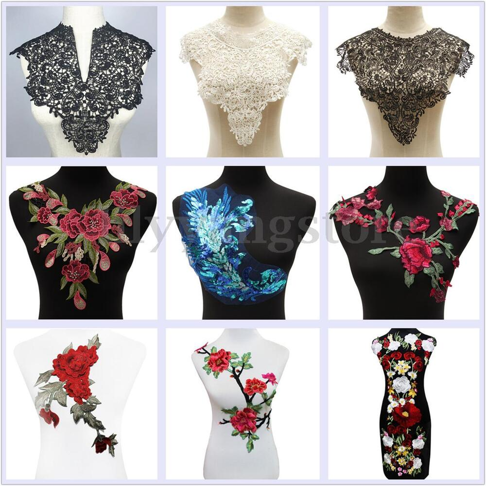 Lace Embroidered Polyester Flower Neckline Collar Trim Clothes Sewing Applique   EBay