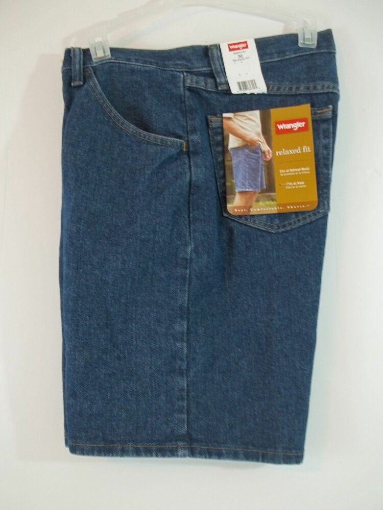 new men 39 s wrangler relaxed fit denim blue jean shorts 30 32 34 36 38 42 44 ebay. Black Bedroom Furniture Sets. Home Design Ideas
