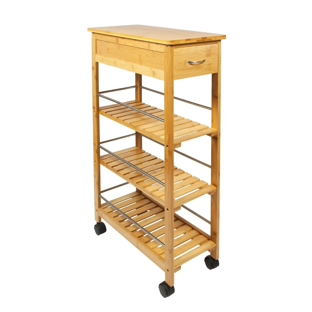 Woodluv Slimline Space Saver Bamboo Kitchen Islands
