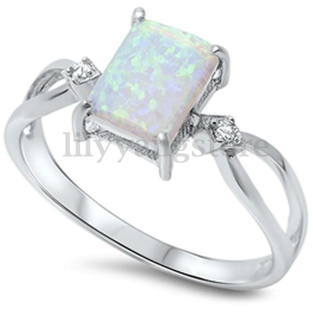 Opal Engagement Rings: Size 6-10 Sterling Silver Plated Princess Cut Fire Opal