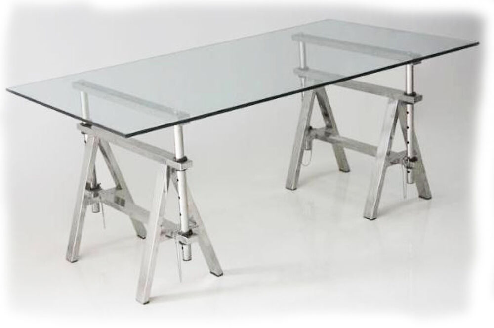 Trestle 1600x900 stainless steel trestle base glass for Best dining table brands