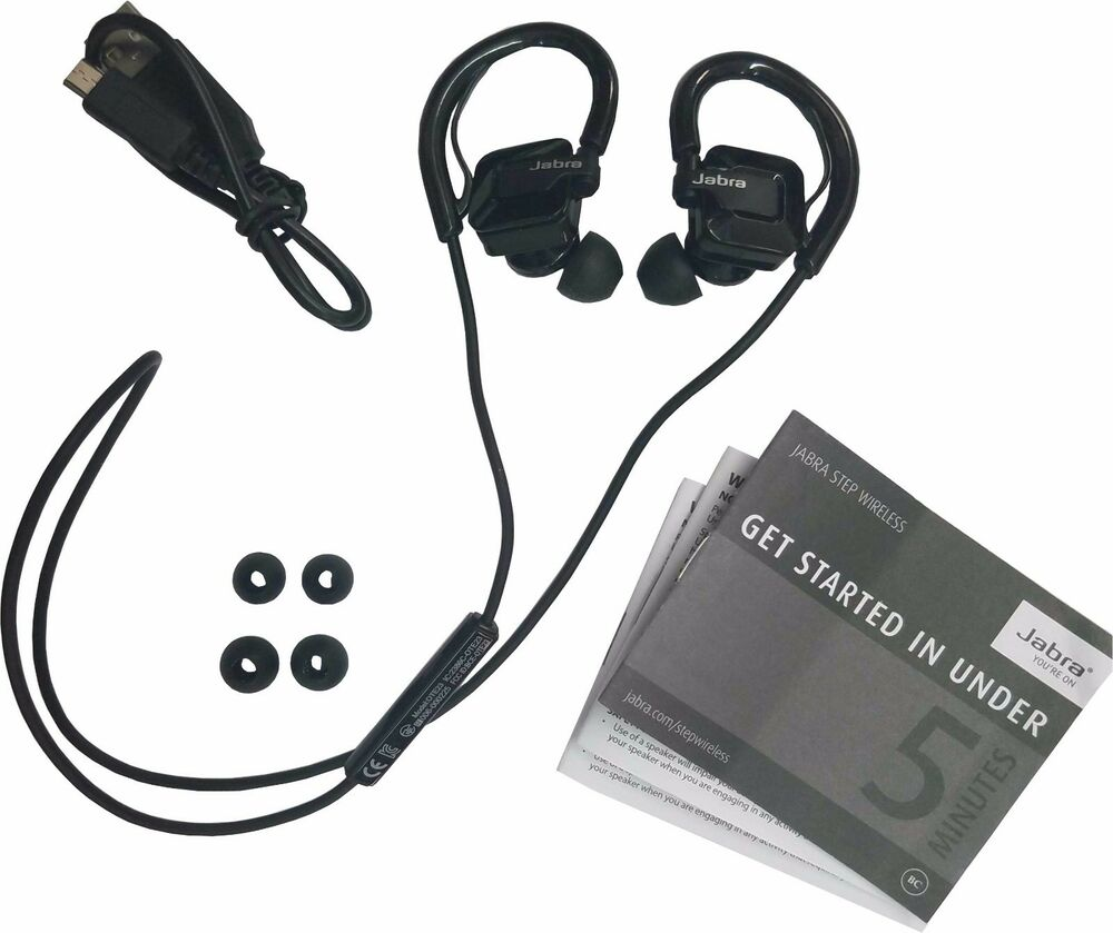 Jabra STEP Black Ear-Hook Headset Wireless Bluetooth Stereo Music Sport Earbuds 615822006743