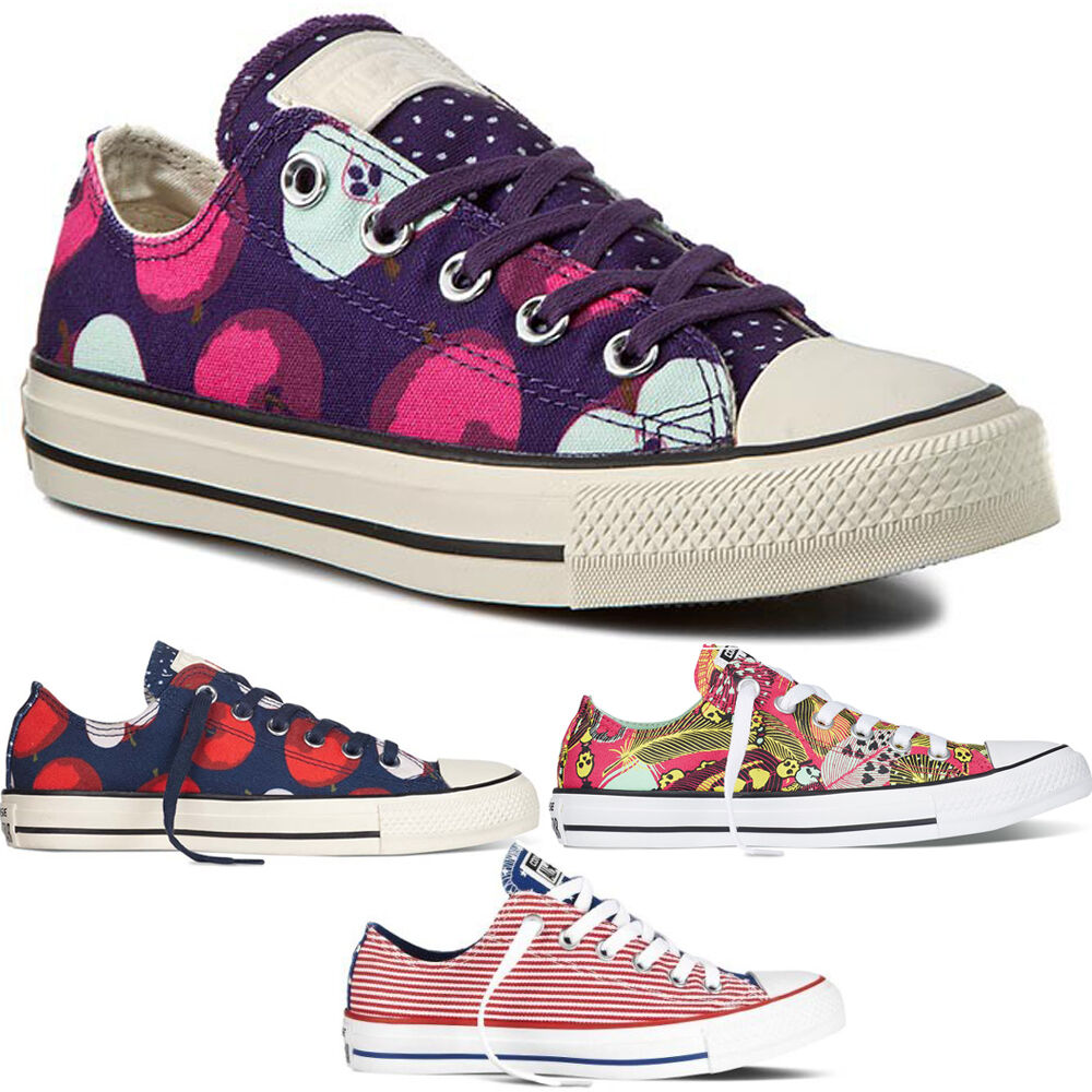 d4a7d39e57a6d5 Details about New Chuck Taylor Apple Print Ladies Womens Girls Converse Ox Trainers  Shoes Size