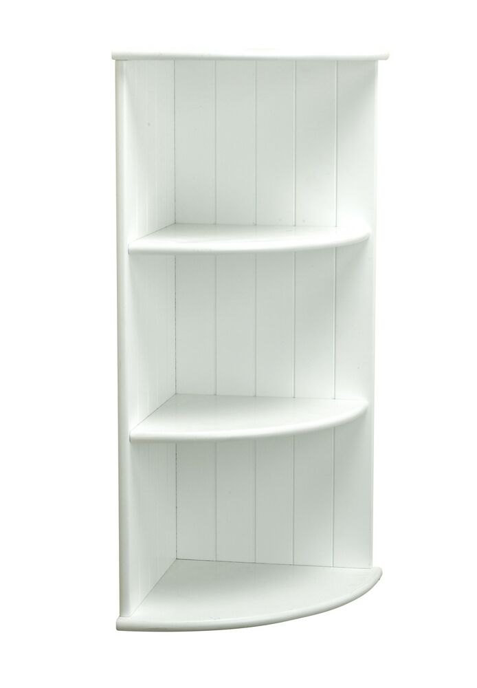 White shaker wall mounted bathroom 3 tier corner shelving - White bathroom corner shelf unit ...