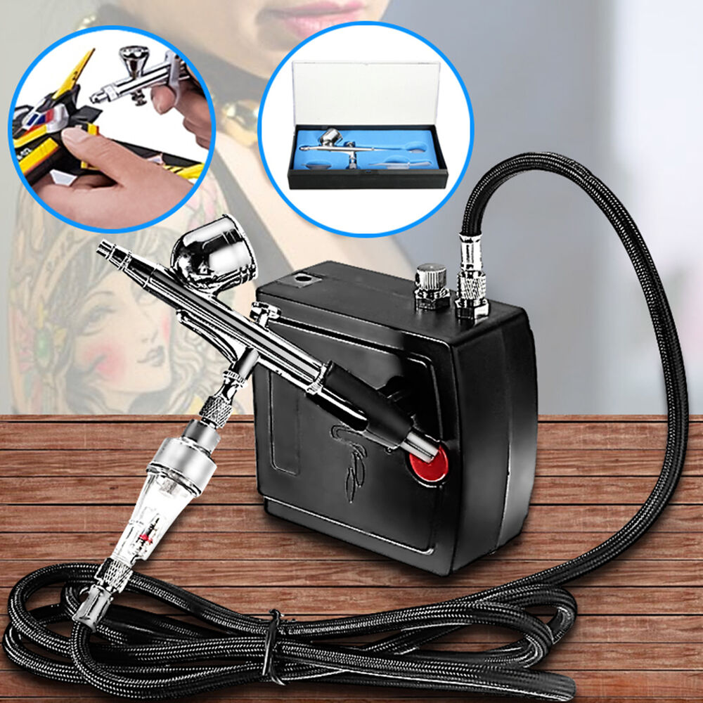 Precision airbrush compressor kit dual action spray paint for Airbrush tattoo kit