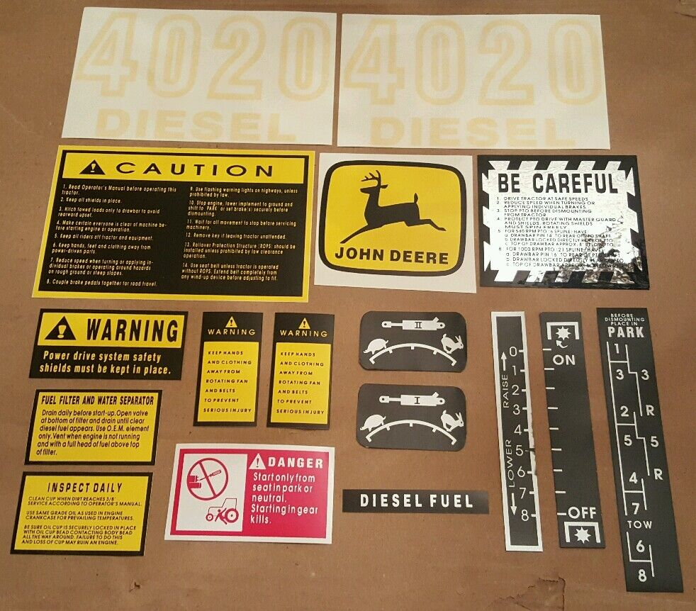 Tractor Pto Warning Decals : Hood safety decal set for john deere tractor ebay