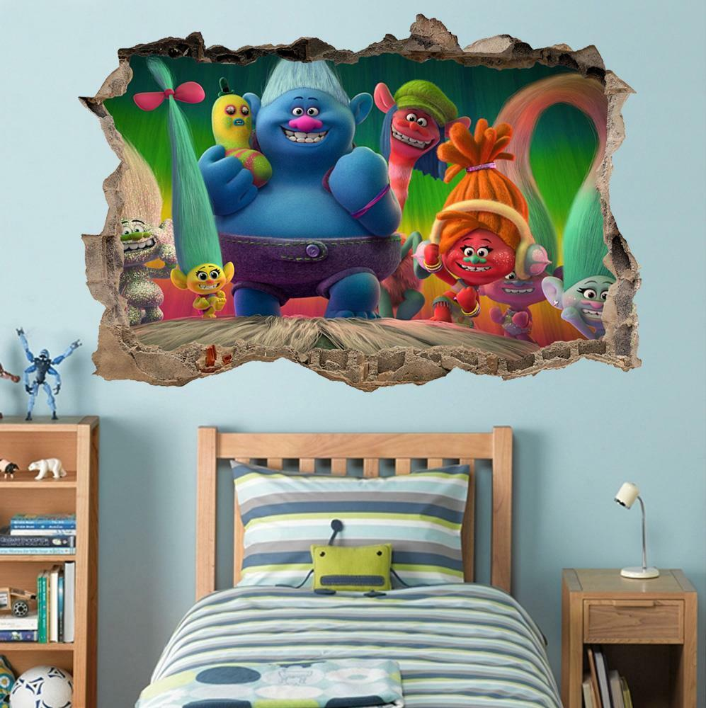 trolls movie smashed wall decal graphic wall sticker home decor art mural h685 ebay. Black Bedroom Furniture Sets. Home Design Ideas