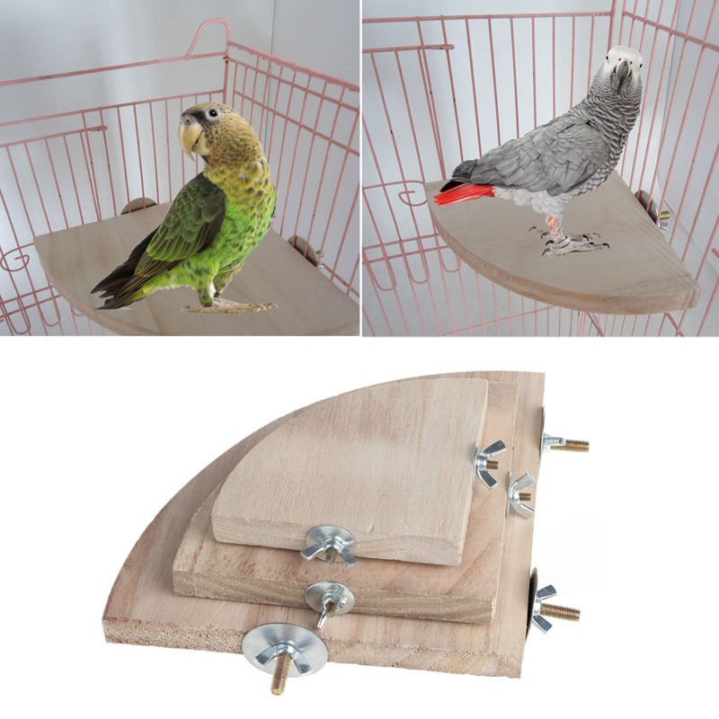 Wood Bird Toys : Pet parrot wood platform stand rack toy hamster branch