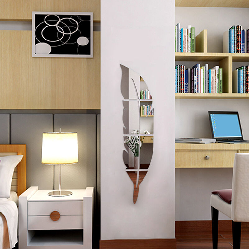 neu 3d spiegel feder wandaufkleber wandtattoo wandsticker abnehmbare zimmer deko ebay. Black Bedroom Furniture Sets. Home Design Ideas