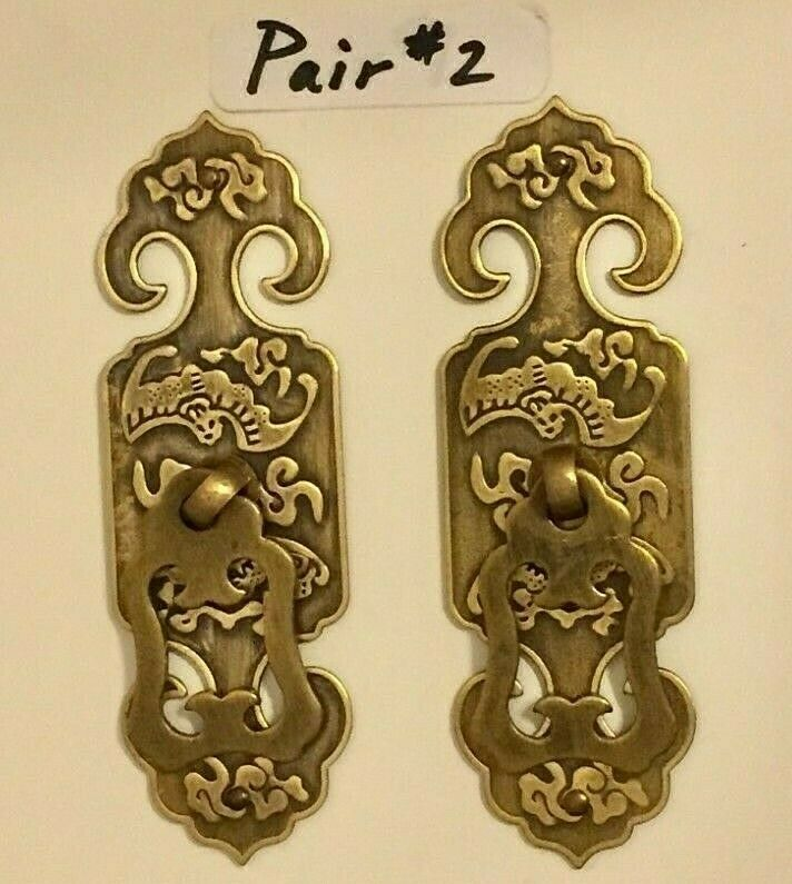 New Chinese Brass Face Plate Door Drawer Pull Handle