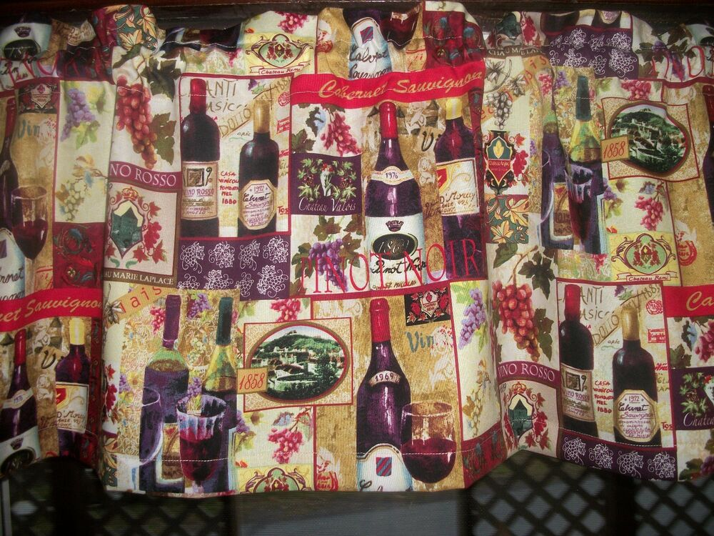 Wine Bottle Glass Grapes French Country Kitchen Fabric