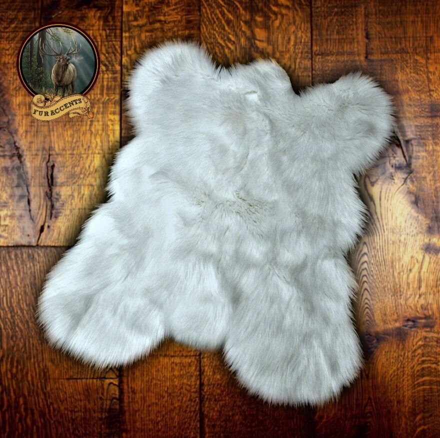 White Shag Area Rug Faux Fur Mini Mountain Bear Skin