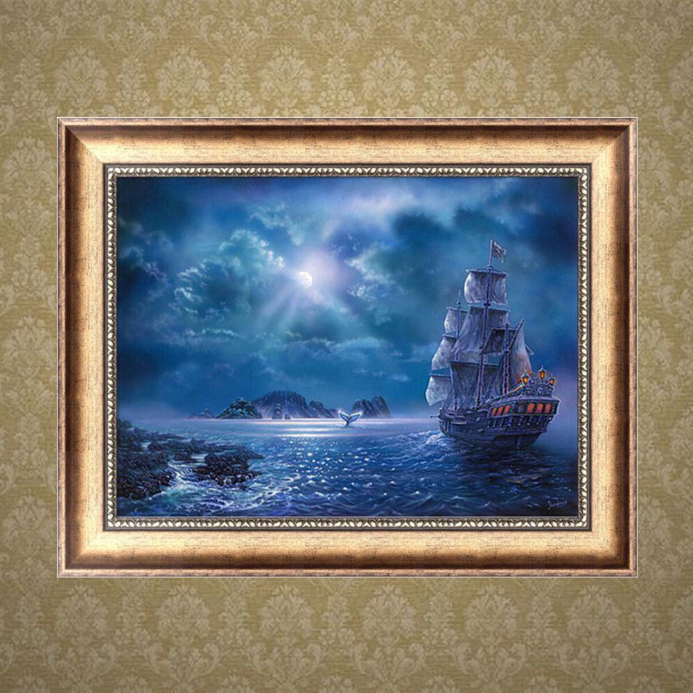 Sailboat 5d diamond embroidery diy craft painting cross for Mosaic home decor