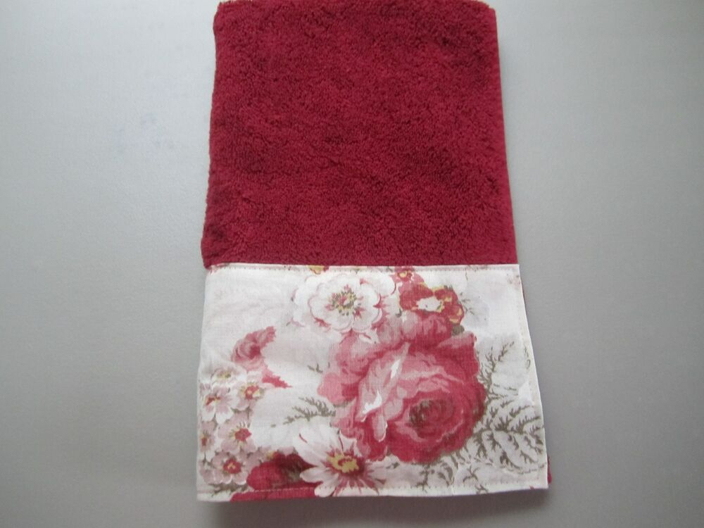 Hand Towels Waverly Norfolk Red Rose French Country Toile