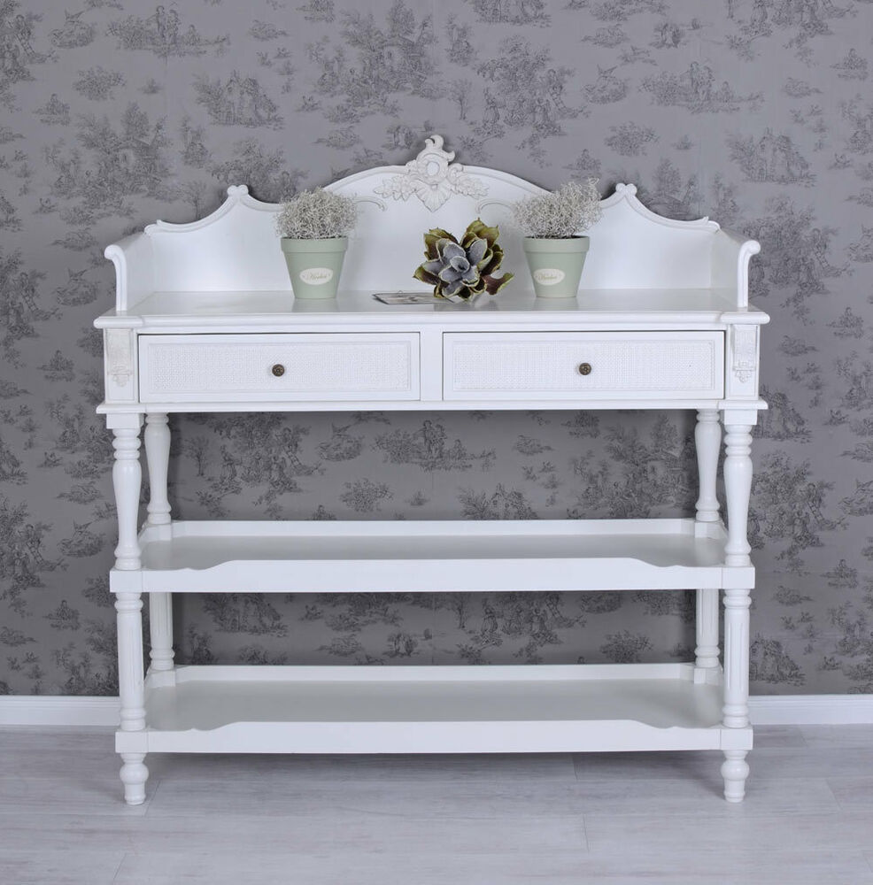 vintage anrichte k chenregal weiss k chenschrank sideboard shabby chic ebay. Black Bedroom Furniture Sets. Home Design Ideas