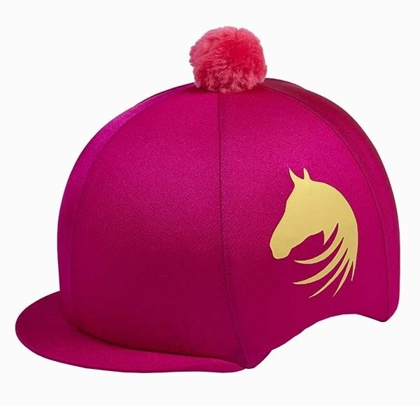 0e091879f41 LYCRA RIDING HAT SILK FOR JOCKEY SKULL CAPS GOLD HORSE HEAD BLACK PURPLE  PINK