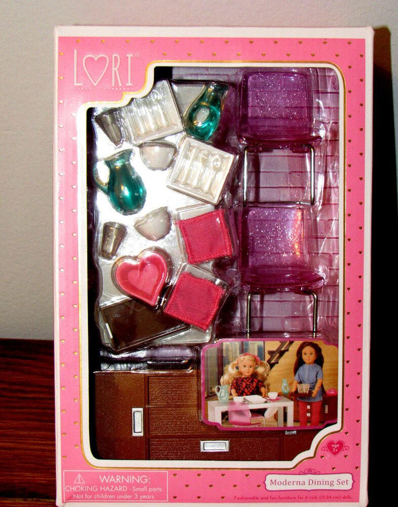 6 Quot Lori Doll House Furniture Dining Set W Dishes Buffet Table Modern Moderna New Ebay