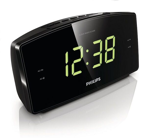 philips aj3400 dual alarm clock radio big lcd display digital fm tuner p44. Black Bedroom Furniture Sets. Home Design Ideas