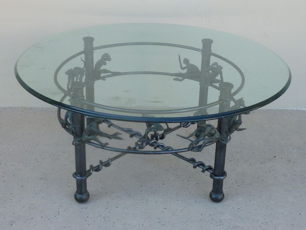 Vintage whimsical wrought iron coffee or occasional table for Square wrought iron coffee table