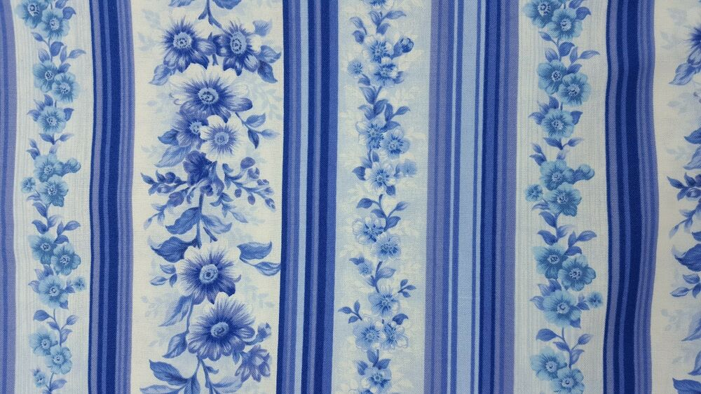 Victorian splendor northcott stripe chic floral blue for Victorian floral fabric