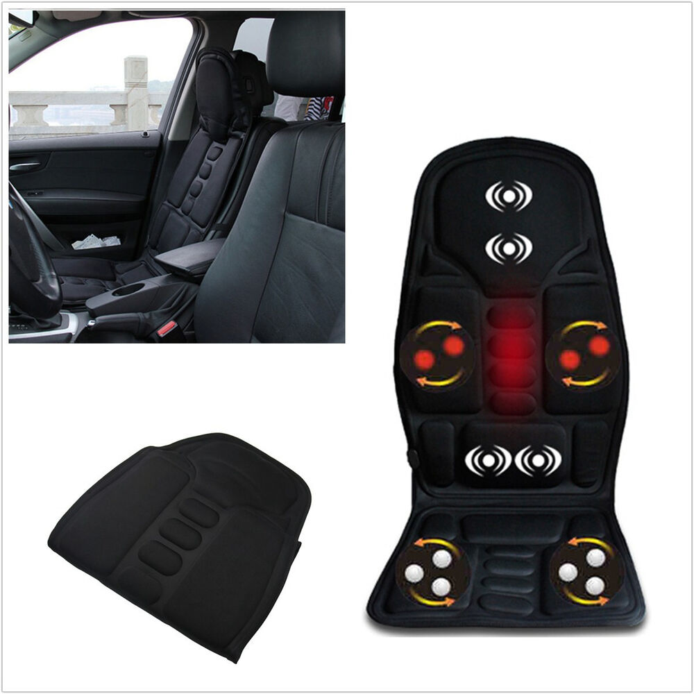 comfortable black 12v car seats back heated cushion support neck pain lumbar mat ebay. Black Bedroom Furniture Sets. Home Design Ideas