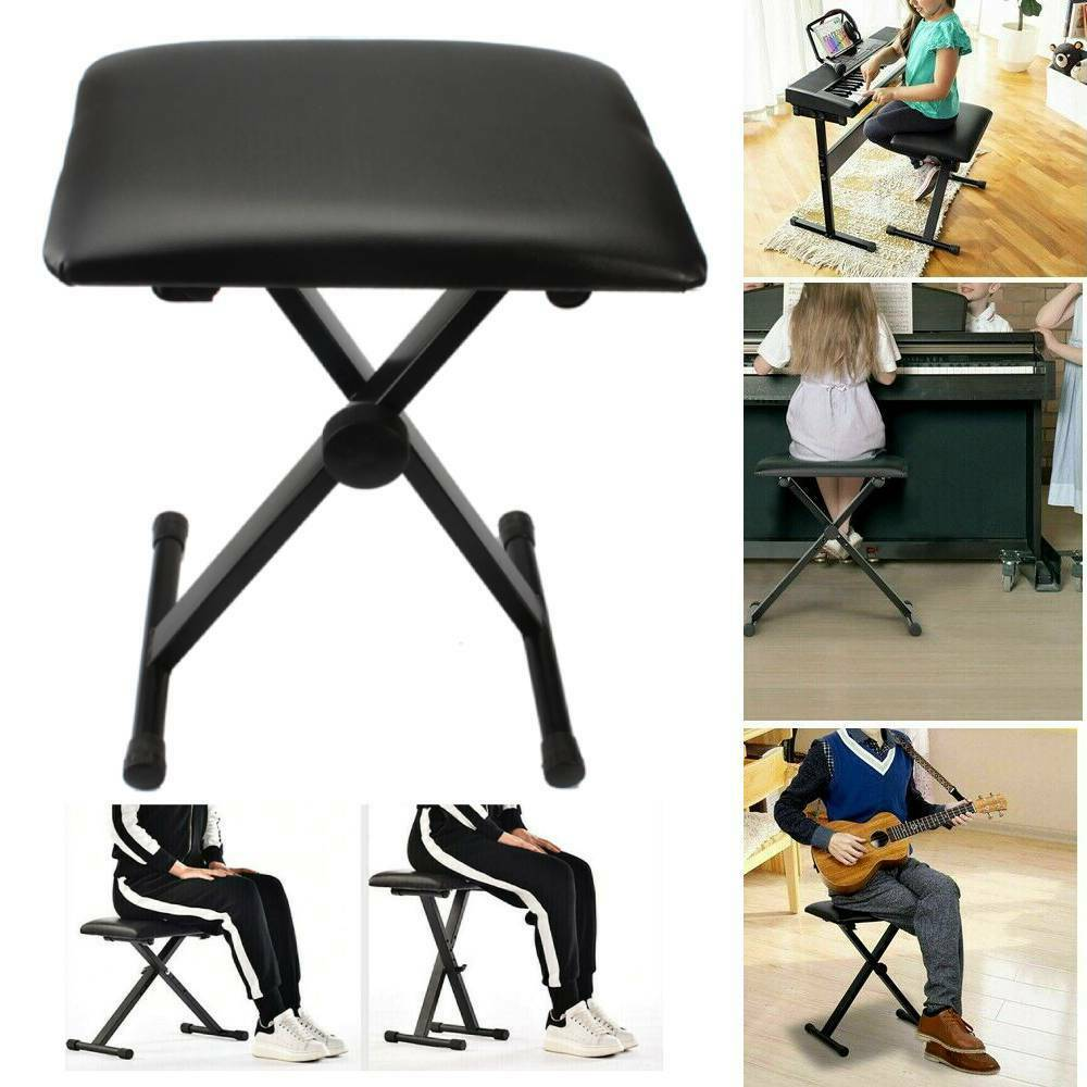 Black adjustable piano keyboard bench leather padded seat folding stool chair ebay Padded bench seat