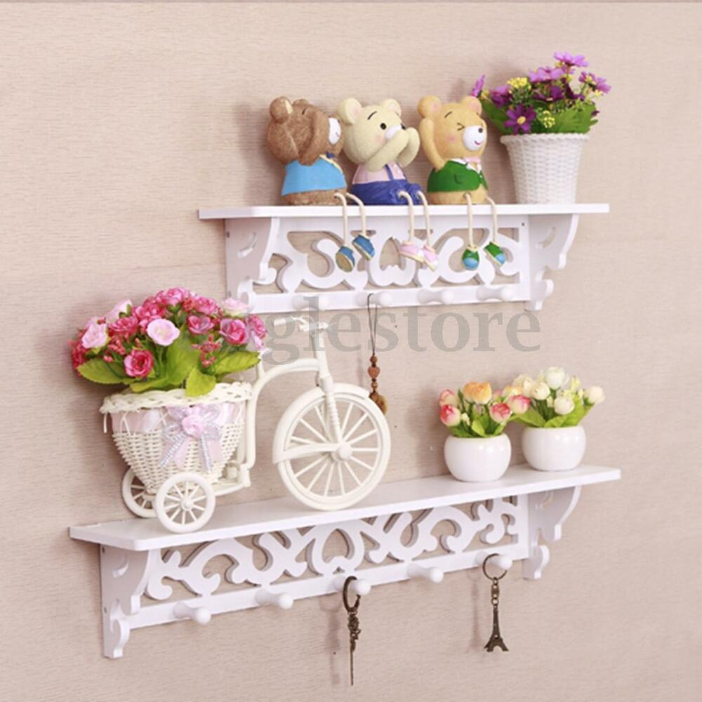 S & L White Wood Wall Shelf Filigree Style Display Hanging ...
