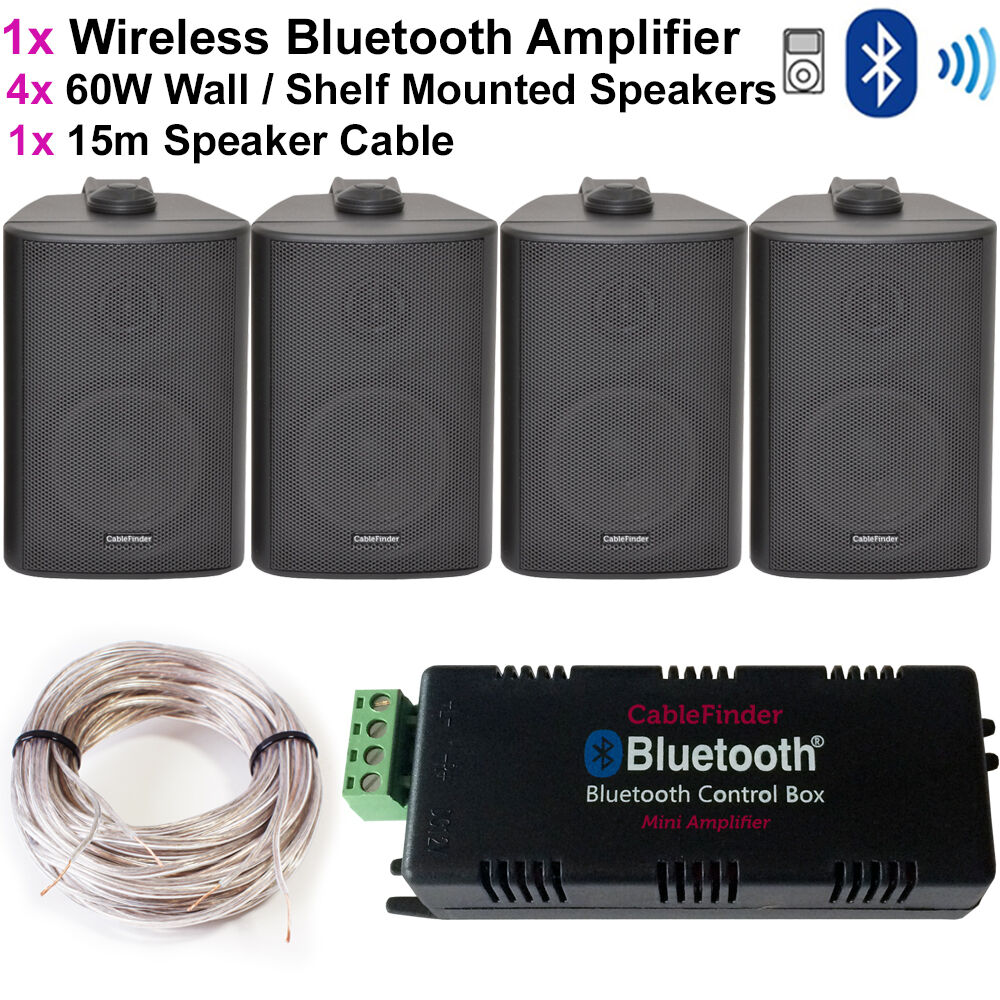 Wireless Bluetooth Amplifier Amp 4x 60w Wall Corner Speakers
