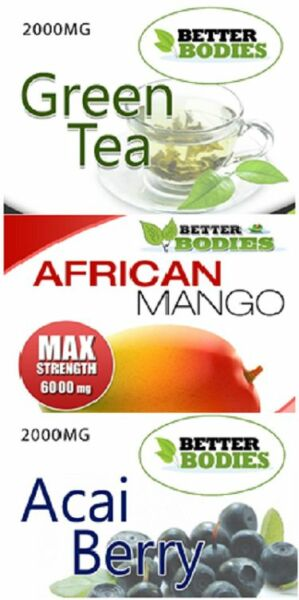 Green Tea 2000mg Acai Berry 2000mg African Mango 6000mg Super Strength Diet Pill