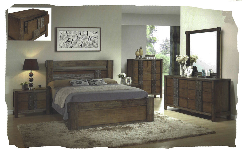 Ivan 6 piece queen size antique walnut hardwood bedroom for Ebay bedroom suites