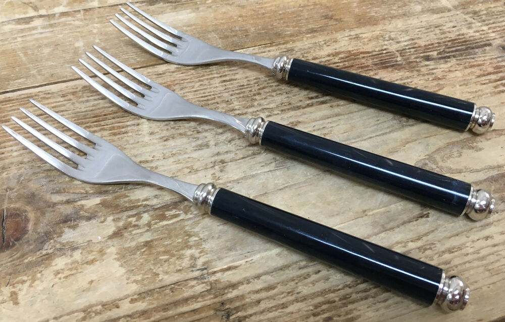 eme italy stainless flatware arcadia black 84483 italy 3 dinner forks 18 10 inox ebay. Black Bedroom Furniture Sets. Home Design Ideas