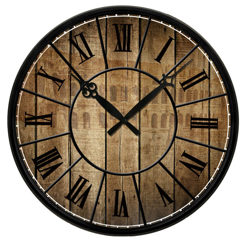 Wall Clock Designs For Home : Quot vintage design wooden print texture rustic country