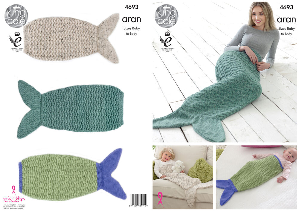Children s Blanket Pattern Knitting : King Cole Aran Knitting Pattern Ladies Kids & Babies Mermaid Tail Blanket...