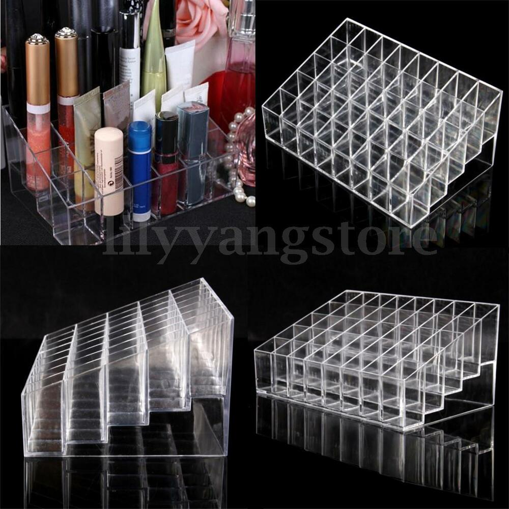 Clear Acrylic 40 Lipstick Holder Display Box Cosmetic