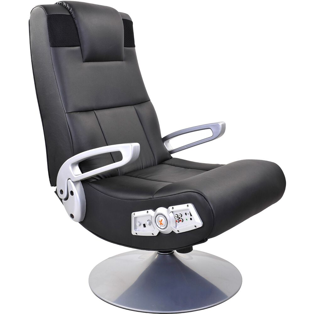 x rocker pedestal video gaming chair bluetooth wireless audio game chair black ebay. Black Bedroom Furniture Sets. Home Design Ideas