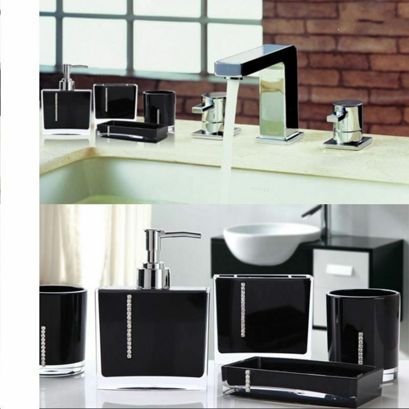 Luxury 4pcs sets acrylic bathroom accessory black set for Black bath accessories sets
